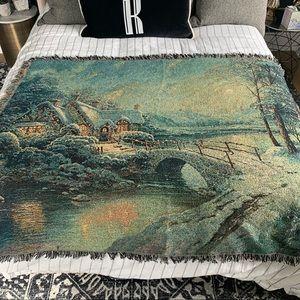 Thomas Kinkade Christmas Moonlight Throw Blanket